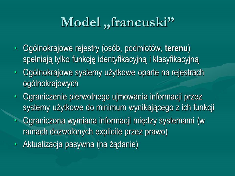 """Model """"francuski"""" Ogólnokrajowe rejestry (osób, podmiotów, terenu ) spełniają tylko funkcję identyfikacyjną i klasyfikacyjnąOgólnokrajowe rejestry (os"""