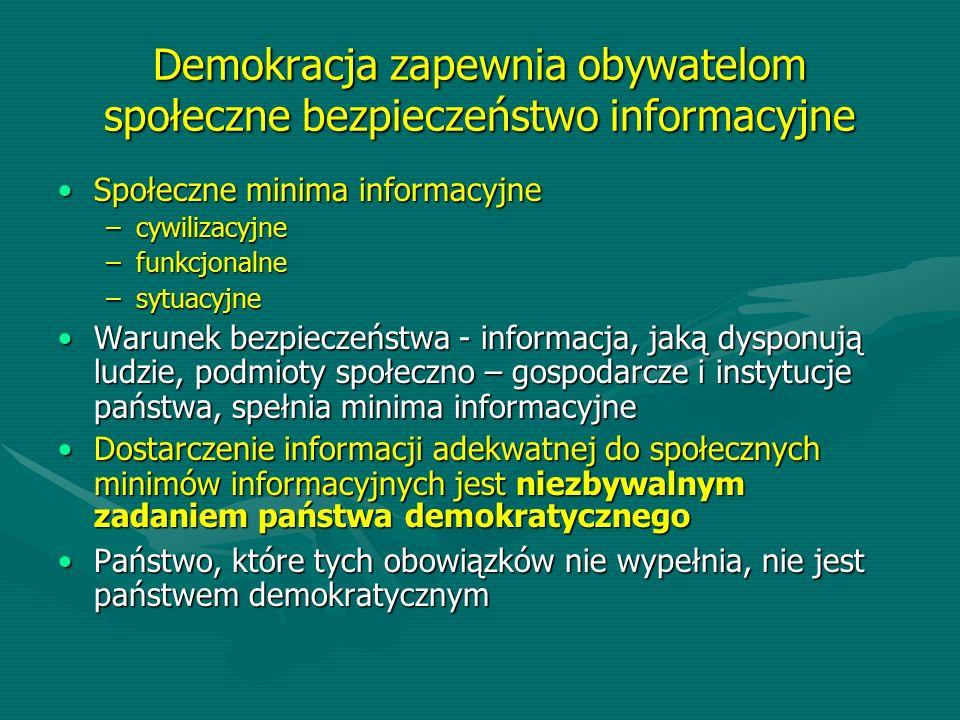 Demokracja zapewnia obywatelom społeczne bezpieczeństwo informacyjne Społeczne minima informacyjneSpołeczne minima informacyjne –cywilizacyjne –funkcj