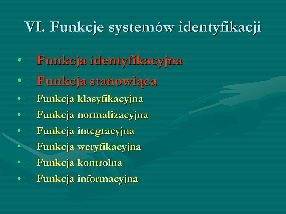 VI. Funkcje systemów identyfikacji Funkcja identyfikacyjnaFunkcja identyfikacyjna Funkcja stanowiącaFunkcja stanowiąca Funkcja klasyfikacyjnaFunkcja k