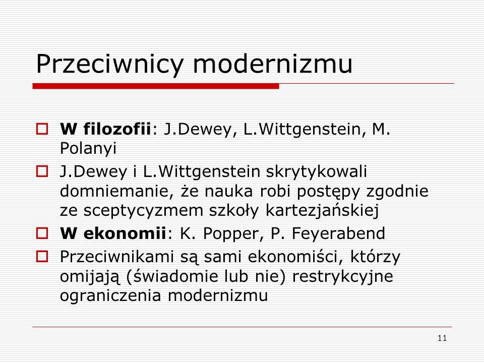 11 Przeciwnicy modernizmu  W filozofii: J.Dewey, L.Wittgenstein, M.