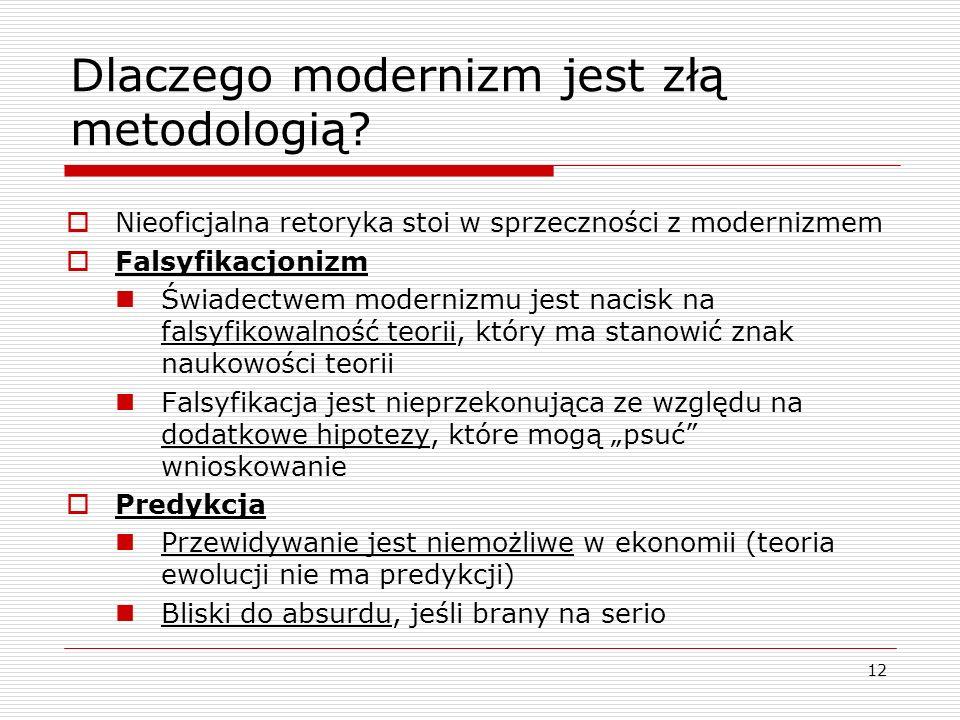 12 Dlaczego modernizm jest złą metodologią.