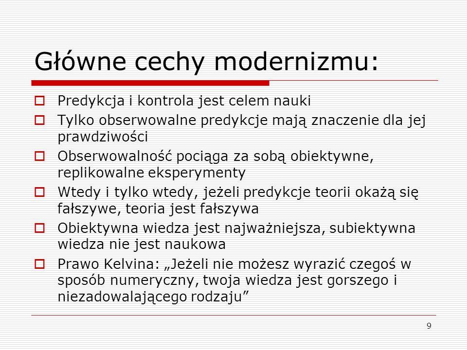10 Główne cechy modernizmu:  Introspekcja, przekonania metafizyczne, estetyka itp.