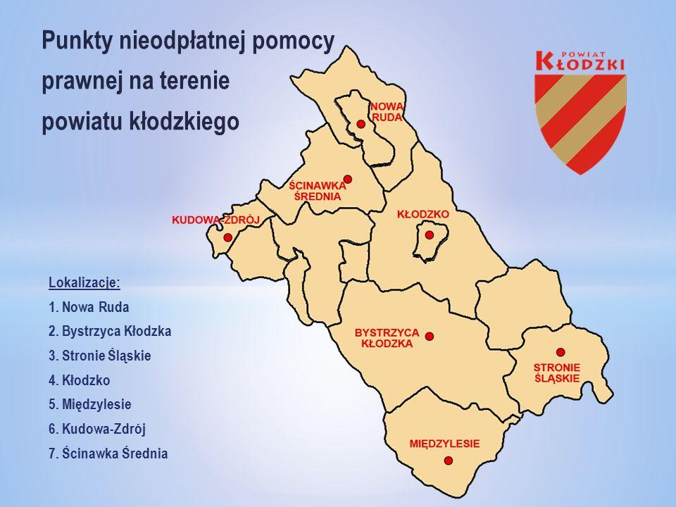 Punkty nieodpłatnej pomocy prawnej na terenie powiatu kłodzkiego Lokalizacje: 1.