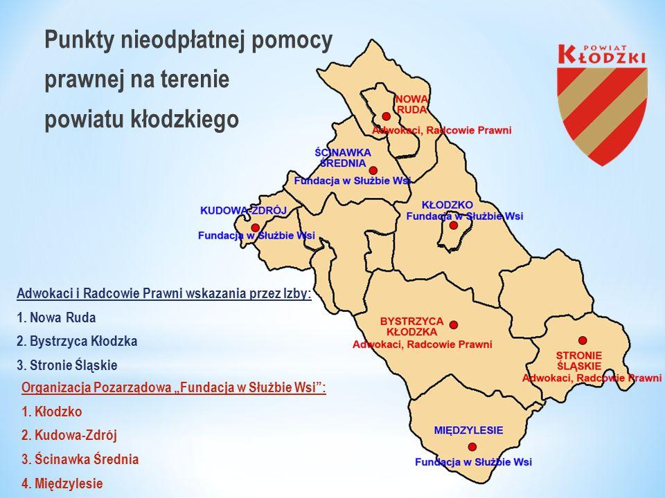 Punkty nieodpłatnej pomocy prawnej na terenie powiatu kłodzkiego Adwokaci i Radcowie Prawni wskazania przez Izby: 1.