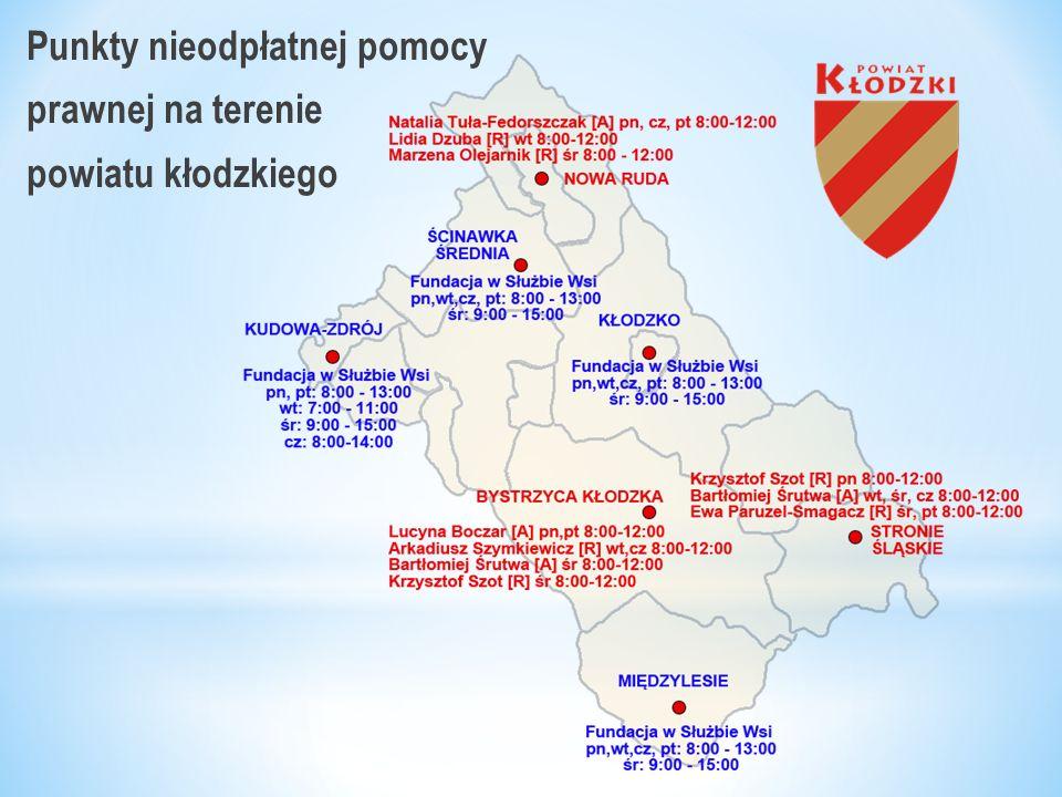 Punkty nieodpłatnej pomocy prawnej na terenie powiatu kłodzkiego