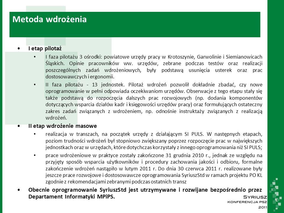 Metoda wdrożenia I etap pilotaż I faza pilotażu 3 ośrodki: powiatowe urzędy pracy w Krotoszynie, Garwolinie i Siemianowicach Śląskich.