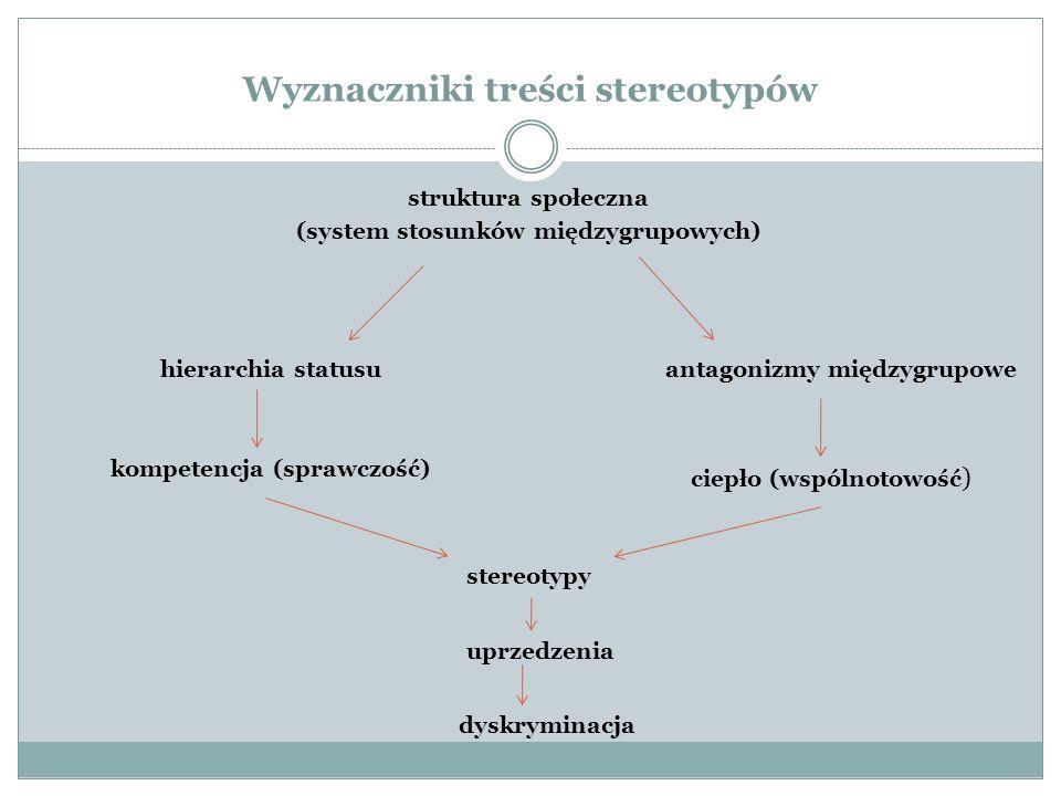 Wyznaczniki treści stereotypów struktura społeczna (system stosunków międzygrupowych) hierarchia statusuantagonizmy międzygrupowe ciepło (wspólnotowość ) kompetencja (sprawczość) stereotypy uprzedzenia dyskryminacja