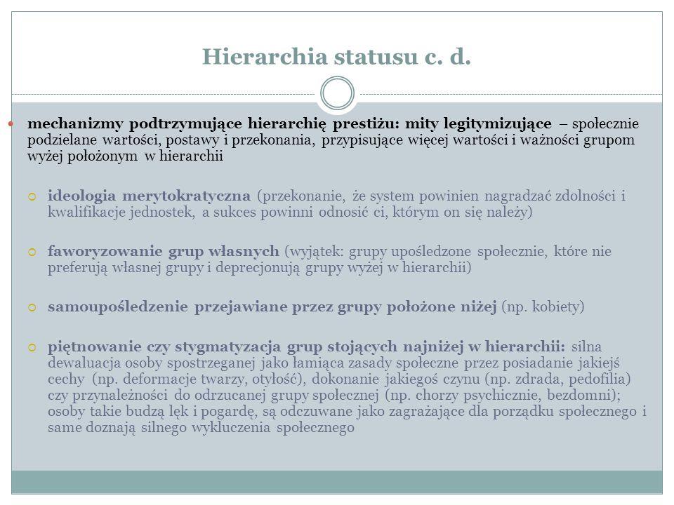 Hierarchia statusu c. d. mechanizmy podtrzymujące hierarchię prestiżu: mity legitymizujące – społecznie podzielane wartości, postawy i przekonania, pr