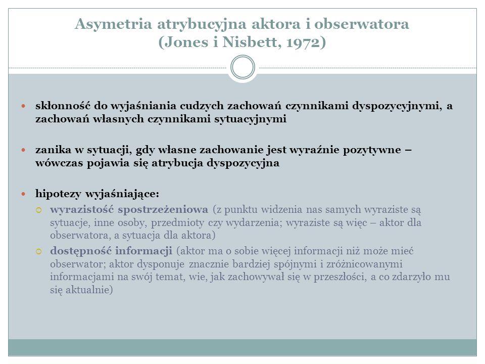 Asymetria atrybucyjna aktora i obserwatora (Jones i Nisbett, 1972) skłonność do wyjaśniania cudzych zachowań czynnikami dyspozycyjnymi, a zachowań własnych czynnikami sytuacyjnymi zanika w sytuacji, gdy własne zachowanie jest wyraźnie pozytywne – wówczas pojawia się atrybucja dyspozycyjna hipotezy wyjaśniające:  wyrazistość spostrzeżeniowa (z punktu widzenia nas samych wyraziste są sytuacje, inne osoby, przedmioty czy wydarzenia; wyraziste są więc – aktor dla obserwatora, a sytuacja dla aktora)  dostępność informacji (aktor ma o sobie więcej informacji niż może mieć obserwator; aktor dysponuje znacznie bardziej spójnymi i zróżnicowanymi informacjami na swój temat, wie, jak zachowywał się w przeszłości, a co zdarzyło mu się aktualnie)
