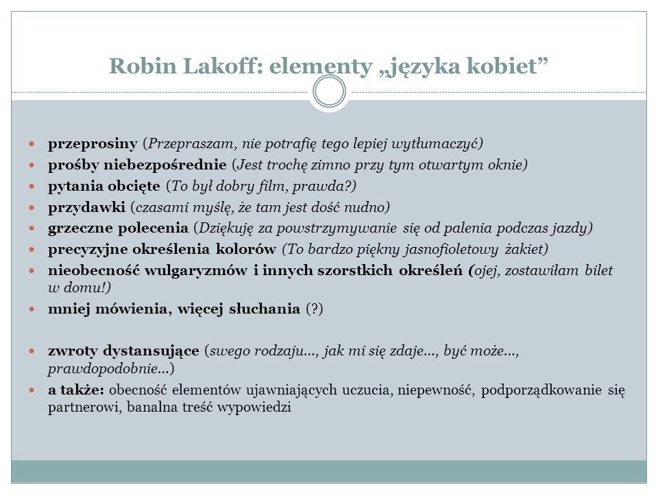 """Robin Lakoff: elementy """"języka kobiet"""" przeprosiny (Przepraszam, nie potrafię tego lepiej wytłumaczyć) prośby niebezpośrednie (Jest trochę zimno przy"""