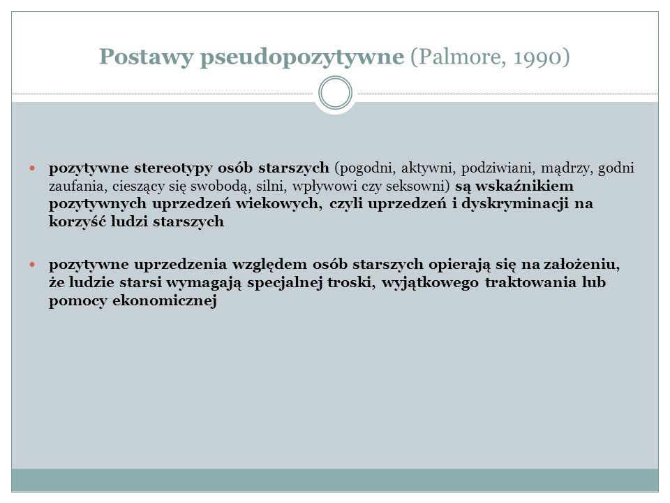 Postawy pseudopozytywne (Palmore, 1990) pozytywne stereotypy osób starszych (pogodni, aktywni, podziwiani, mądrzy, godni zaufania, cieszący się swobod