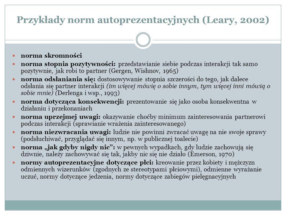 Przykłady norm autoprezentacyjnych (Leary, 2002) norma skromności norma stopnia pozytywności: przedstawianie siebie podczas interakcji tak samo pozytywnie, jak robi to partner (Gergen, Wishnov, 1965) norma odsłaniania się: dostosowywanie stopnia szczerości do tego, jak dalece odsłania się partner interakcji (im więcej mówię o sobie innym, tym więcej inni mówią o sobie mnie) (Derlenga i wsp., 1993) norma dotycząca konsekwencji: prezentowanie się jako osoba konsekwentna w działaniu i przekonaniach norma uprzejmej uwagi: okazywanie choćby minimum zainteresowania partnerowi podczas interakcji (sprawianie wrażenia zainteresowanego) norma niezwracania uwagi: ludzie nie powinni zwracać uwagę na nie swoje sprawy (podsłuchiwać, przyglądać się innym, np.