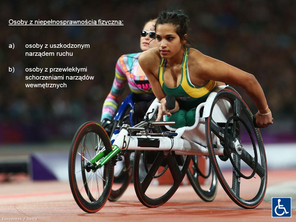 Osoby z niepełnosprawnością fizyczną: a)osoby z uszkodzonym narządem ruchu b)osoby z przewlekłymi schorzeniami narządów wewnętrznych