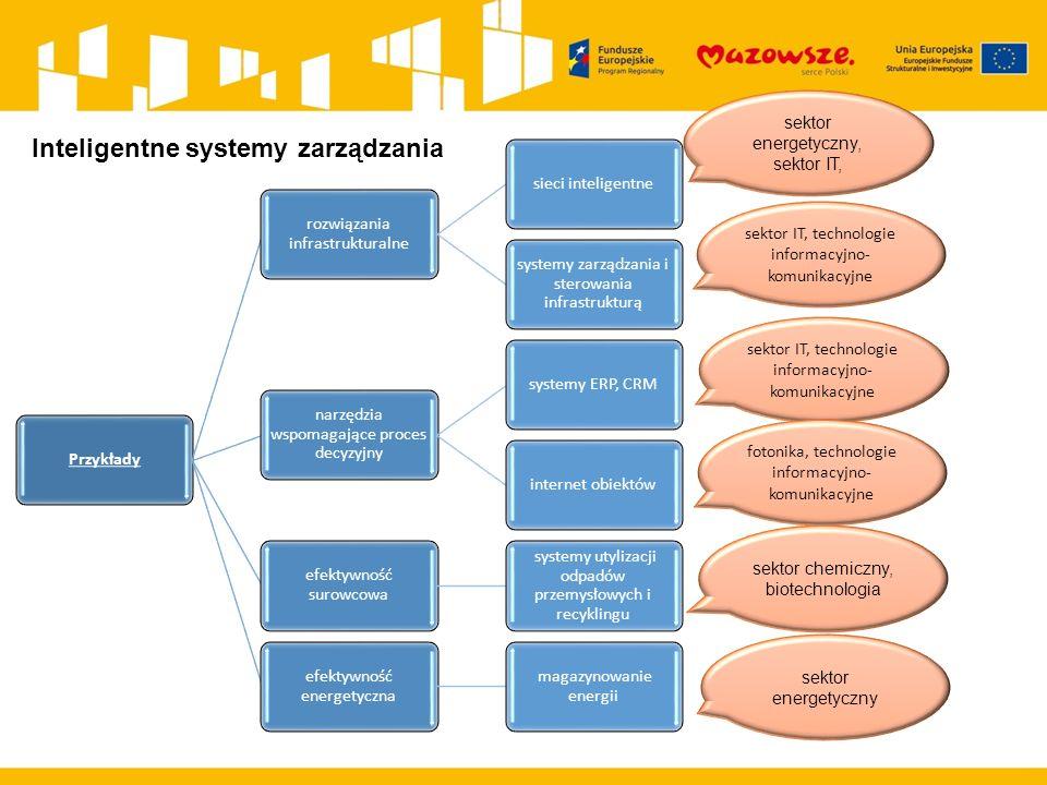 Przykłady rozwiązania infrastrukturalne sieci inteligentne systemy zarządzania i sterowania infrastrukturą narzędzia wspomagające proces decyzyjny systemy ERP, CRMinternet obiektów efektywność surowcowa systemy utylizacji odpadów przemysłowych i recyklingu efektywność energetyczna magazynowanie energii sektor energetyczny, sektor IT, sektor IT, technologie informacyjno- komunikacyjne sektor chemiczny, biotechnologia sektor energetyczny sektor IT, technologie informacyjno- komunikacyjne fotonika, technologie informacyjno- komunikacyjne Inteligentne systemy zarządzania