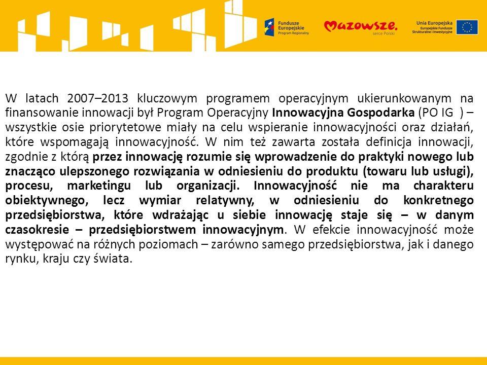 Dziękuję za uwagę Klaudiusz Ostrowski Wydział Informacji i Szkoleń Beneficjentów Mazowiecka Jednostka Wdrażania Programów Unijnych W latach 2007–2013 kluczowym programem operacyjnym ukierunkowanym na finansowanie innowacji był Program Operacyjny Innowacyjna Gospodarka (PO IG ) – wszystkie osie priorytetowe miały na celu wspieranie innowacyjności oraz działań, które wspomagają innowacyjność.