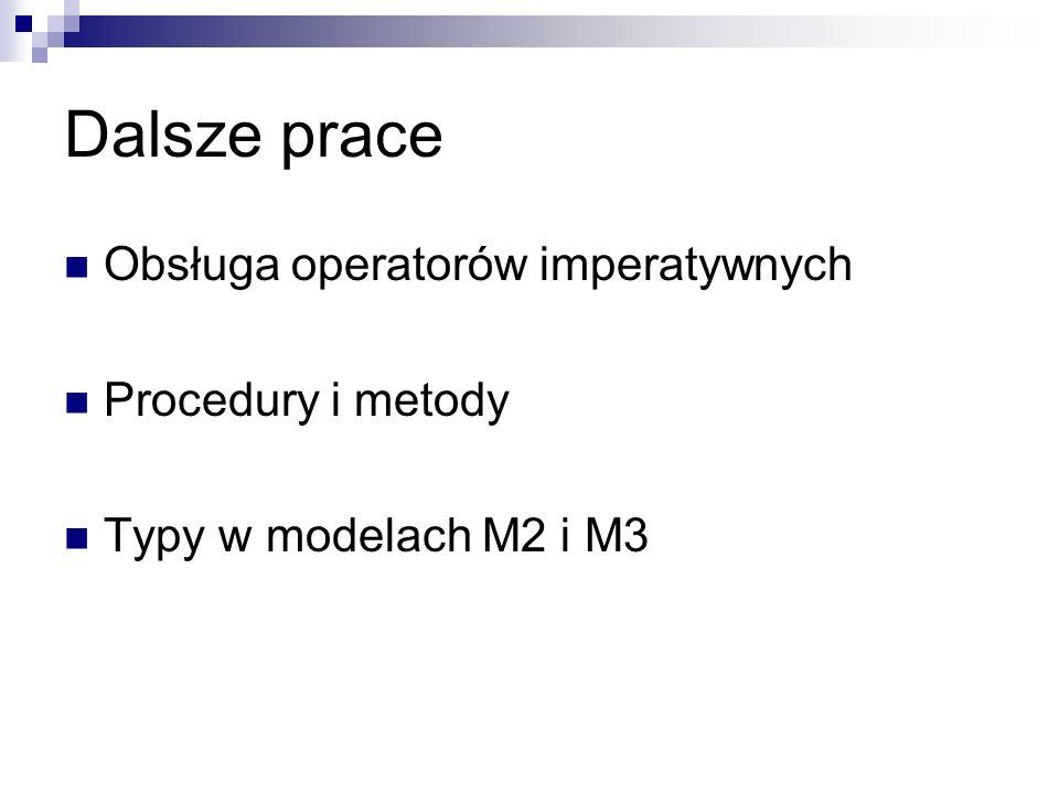 Dalsze prace Obsługa operatorów imperatywnych Procedury i metody Typy w modelach M2 i M3
