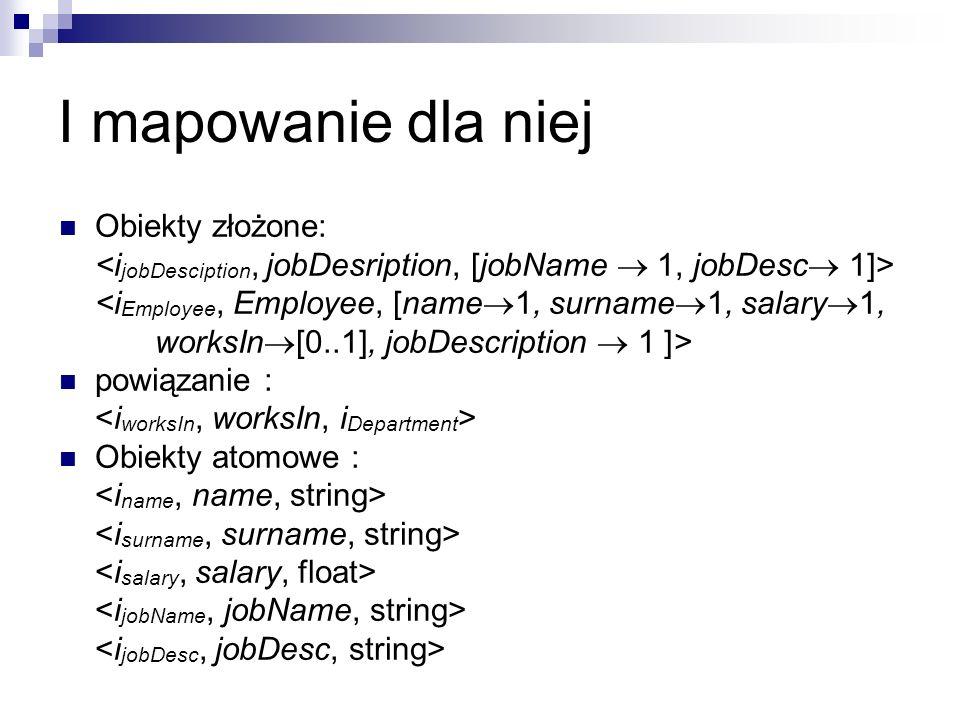 I mapowanie dla niej Obiekty złożone: <i Employee, Employee, [name  1, surname  1, salary  1, worksIn  [0..1], jobDescription  1 ]> powiązanie : Obiekty atomowe :