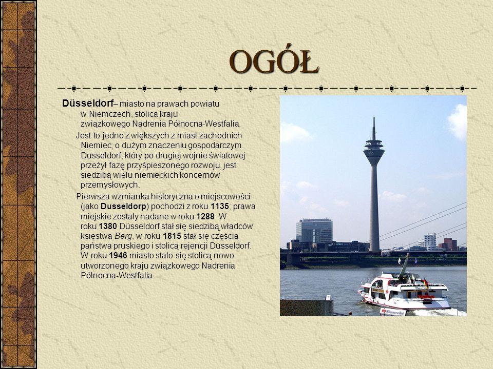 OGÓŁ Düsseldorf – miasto na prawach powiatu w Niemczech, stolica kraju związkowego Nadrenia Północna-Westfalia. Jest to jedno z większych z miast zach