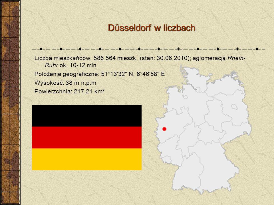 Düsseldorf w liczbach Düsseldorf w liczbach Liczba mieszkańców: 586 564 mieszk. (stan: 30.06.2010); aglomeracja Rhein- Ruhr ok. 10-12 mln Położenie ge