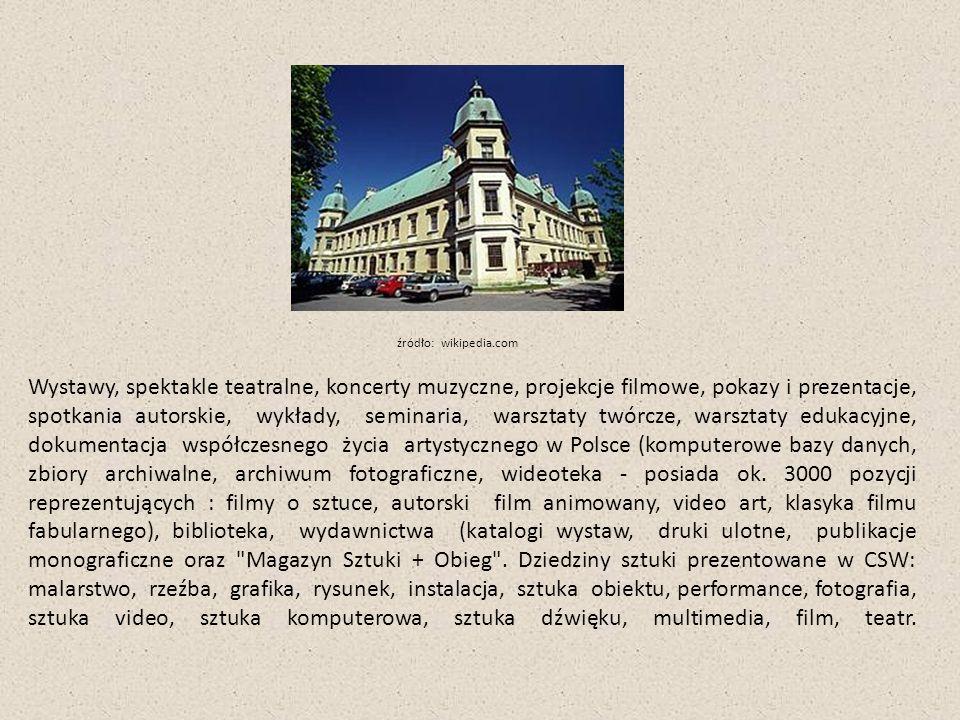 Wystawy, spektakle teatralne, koncerty muzyczne, projekcje filmowe, pokazy i prezentacje, spotkania autorskie, wykłady, seminaria, warsztaty twórcze, warsztaty edukacyjne, dokumentacja współczesnego życia artystycznego w Polsce (komputerowe bazy danych, zbiory archiwalne, archiwum fotograficzne, wideoteka - posiada ok.