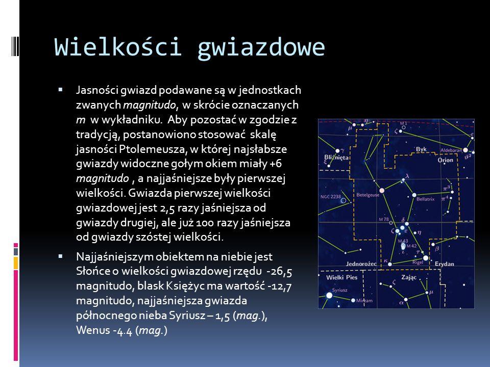 Wielkości gwiazdowe  Jasności gwiazd podawane są w jednostkach zwanych magnitudo, w skrócie oznaczanych m w wykładniku.