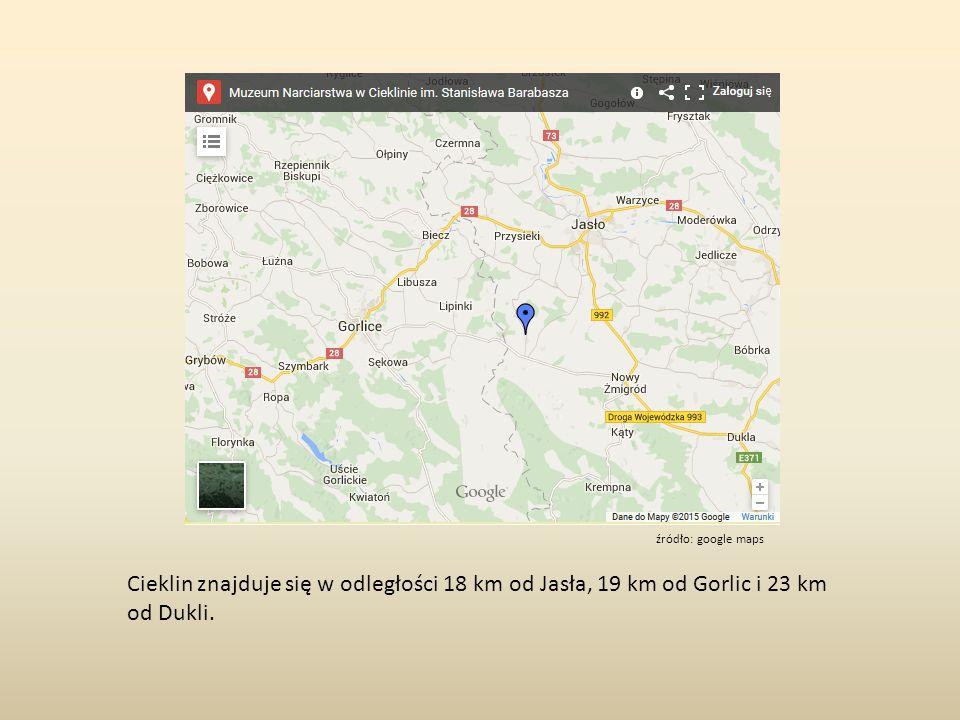 Cieklin znajduje się w odległości 18 km od Jasła, 19 km od Gorlic i 23 km od Dukli.