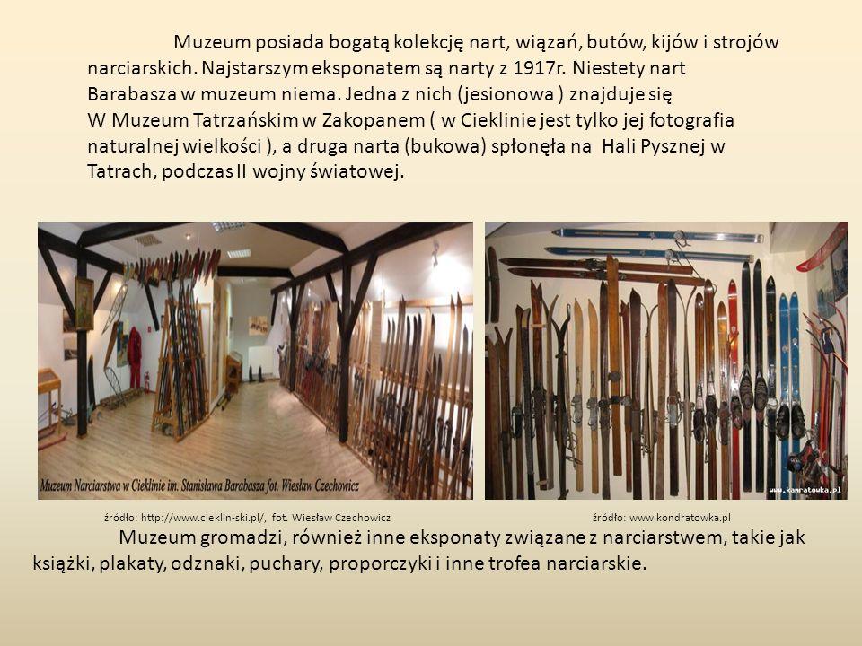 Muzeum posiada bogatą kolekcję nart, wiązań, butów, kijów i strojów narciarskich.