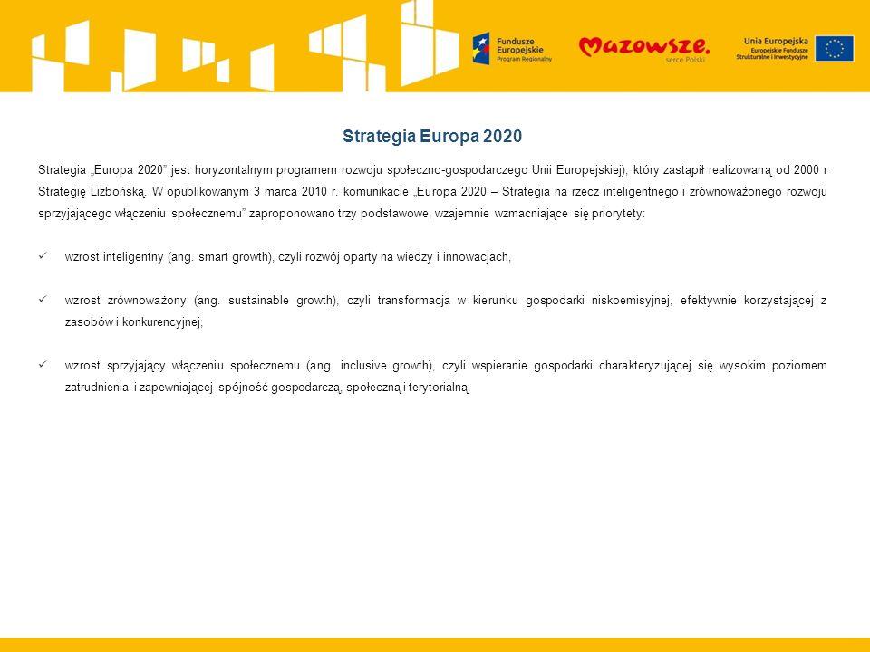 """Strategia Europa 2020 Strategia """"Europa 2020 jest horyzontalnym programem rozwoju społeczno-gospodarczego Unii Europejskiej), który zastąpił realizowaną od 2000 r Strategię Lizbońską."""