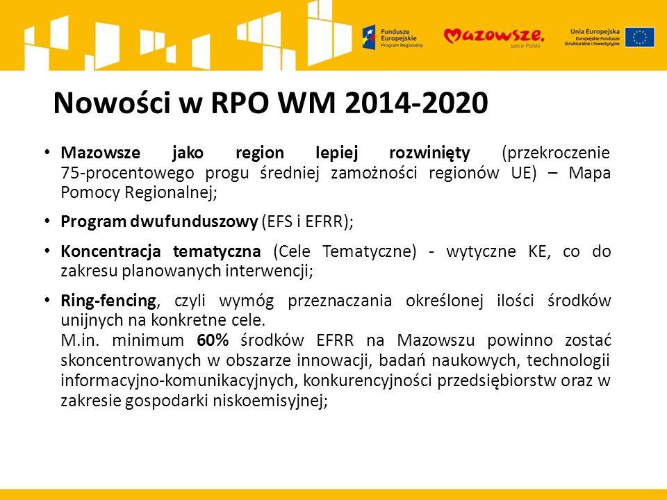 Nowości w RPO WM 2014-2020 Mazowsze jako region lepiej rozwinięty (przekroczenie 75-procentowego progu średniej zamożności regionów UE) – Mapa Pomocy Regionalnej; Program dwufunduszowy (EFS i EFRR); Koncentracja tematyczna (Cele Tematyczne) - wytyczne KE, co do zakresu planowanych interwencji; Ring-fencing, czyli wymóg przeznaczania określonej ilości środków unijnych na konkretne cele.