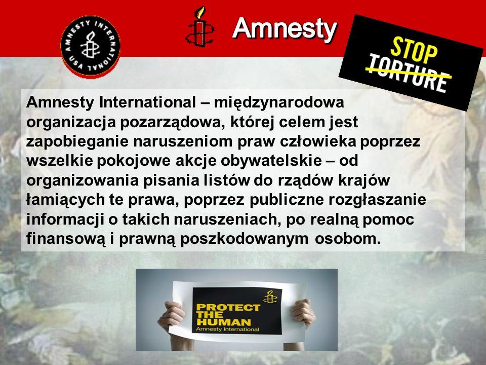 Amnesty International – międzynarodowa organizacja pozarządowa, której celem jest zapobieganie naruszeniom praw człowieka poprzez wszelkie pokojowe akcje obywatelskie – od organizowania pisania listów do rządów krajów łamiących te prawa, poprzez publiczne rozgłaszanie informacji o takich naruszeniach, po realną pomoc finansową i prawną poszkodowanym osobom.