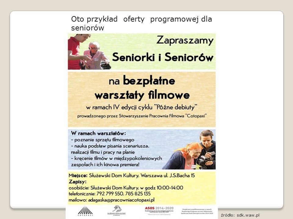 Oto przykład oferty programowej dla seniorów źródło: sdk.waw.pl