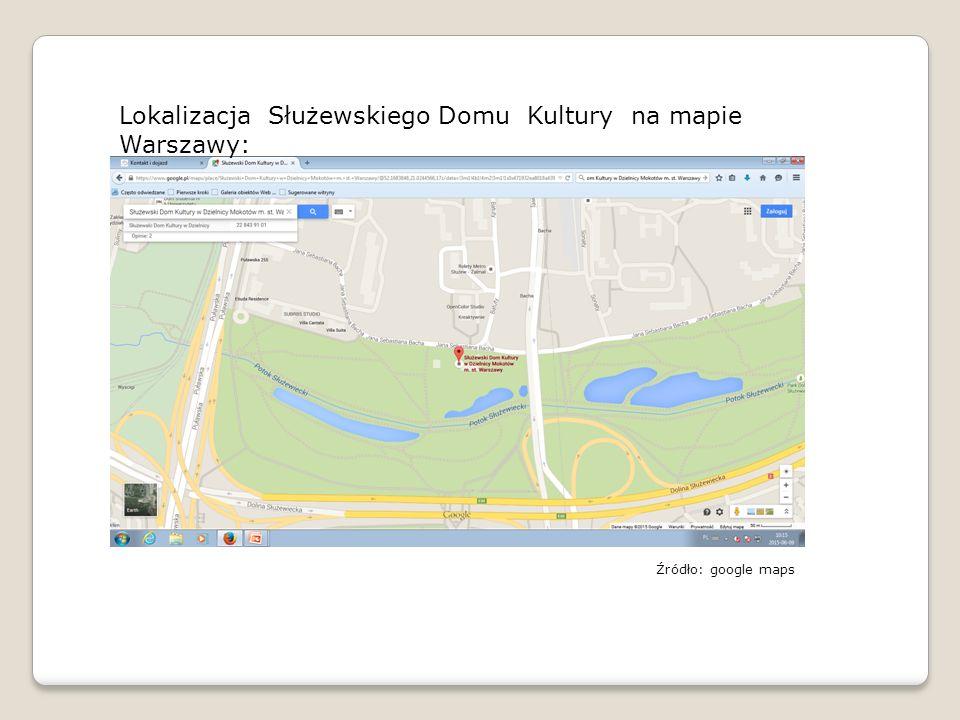 Lokalizacja Służewskiego Domu Kultury na mapie Warszawy: Źródło: google maps