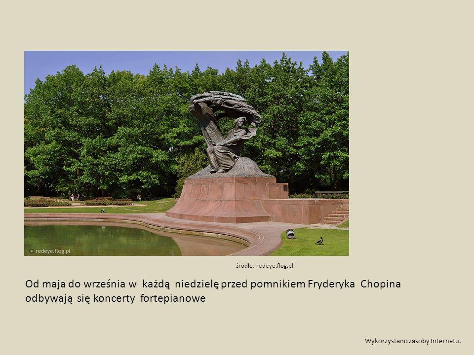 Od maja do września w każdą niedzielę przed pomnikiem Fryderyka Chopina odbywają się koncerty fortepianowe Wykorzystano zasoby Internetu.