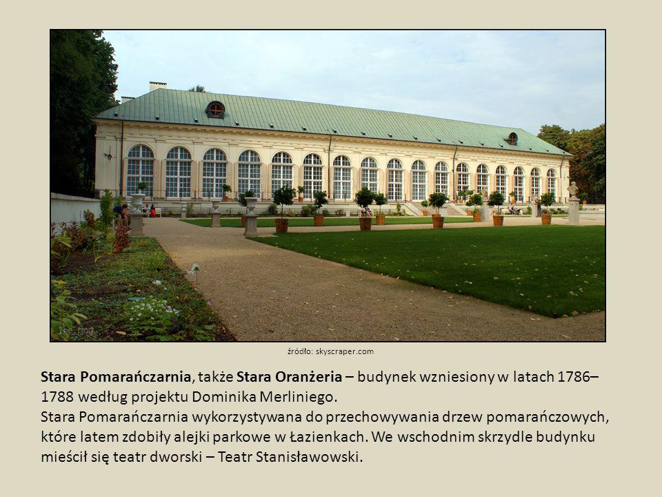 Nowa Pomarańczarnia, Nowa Oranżeria Powstała w latach 1860-61 według projektu Adama Adolfa Loewe i Józefa Orłowskiego w wyniku znacznego powiększenia się zbioru roślin cieplarnianych, dzięki nabyciu od Radziwiłłów z Nieborowa w 1855 roku wielkiej kolekcji drzew pomarańczowych.
