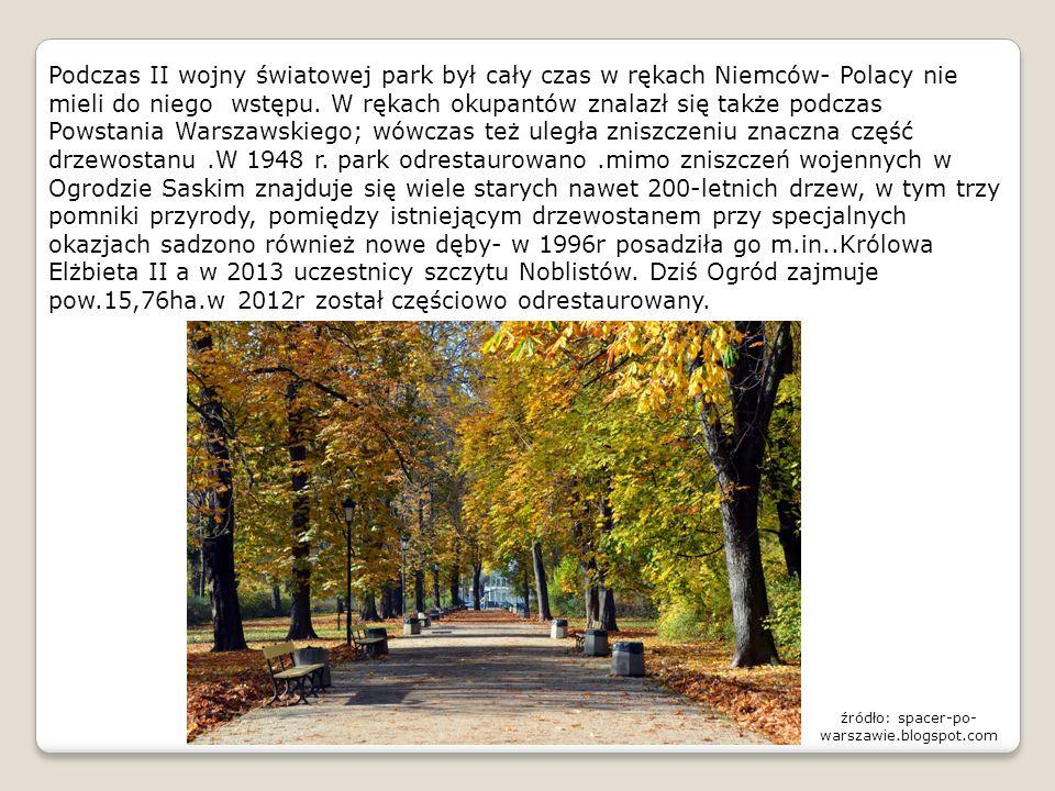 Podczas II wojny światowej park był cały czas w rękach Niemców- Polacy nie mieli do niego wstępu. W rękach okupantów znalazł się także podczas Powstan