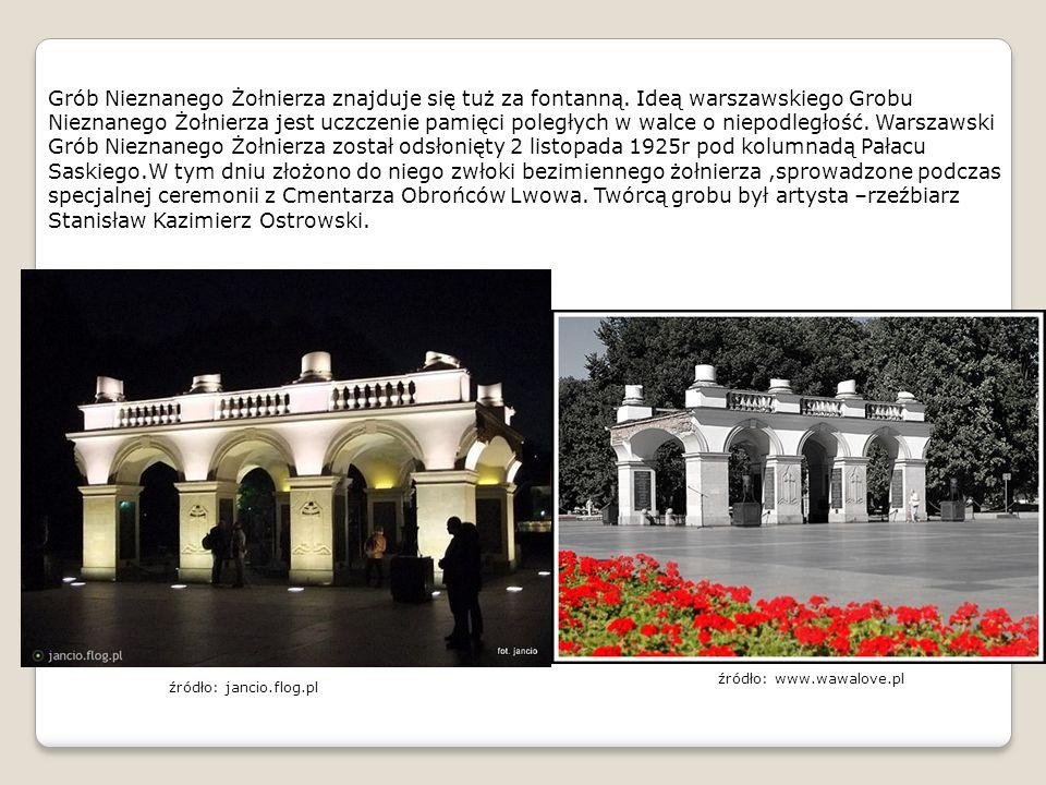 Grób Nieznanego Żołnierza znajduje się tuż za fontanną. Ideą warszawskiego Grobu Nieznanego Żołnierza jest uczczenie pamięci poległych w walce o niepo