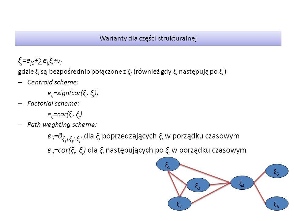 ξ j =e j0 +∑e ij ξ i +ν j gdzie ξ i są bezpośrednio połączone z ξ j (również gdy ξ i następują po ξ i ) – Centroid scheme: e ij =sign(cor(ξ i, ξ j )) – Factorial scheme: e ij =cor(ξ i, ξ j ) – Path weghting scheme: e ij =β ξ j |ξ i ; ξ i ' dla ξ i poprzedzających ξ j w porządku czasowym e ij =cor(ξ i, ξ j ) dla ξ i następujących po ξ j w porządku czasowym Warianty dla części strukturalnej ξ5ξ5 ξ1ξ1 ξ2ξ2 ξ4ξ4 ξ6ξ6 ξ3ξ3