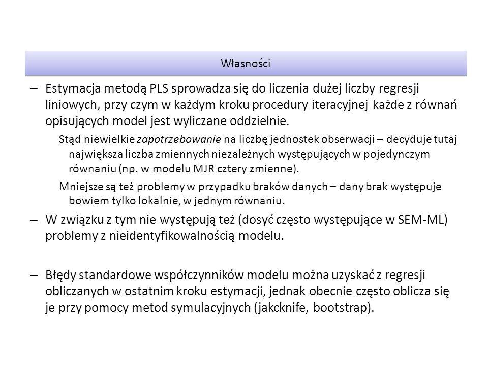 Model PLS nie optymalizuje żadnego globalnego kryterium dopasowania do danych.