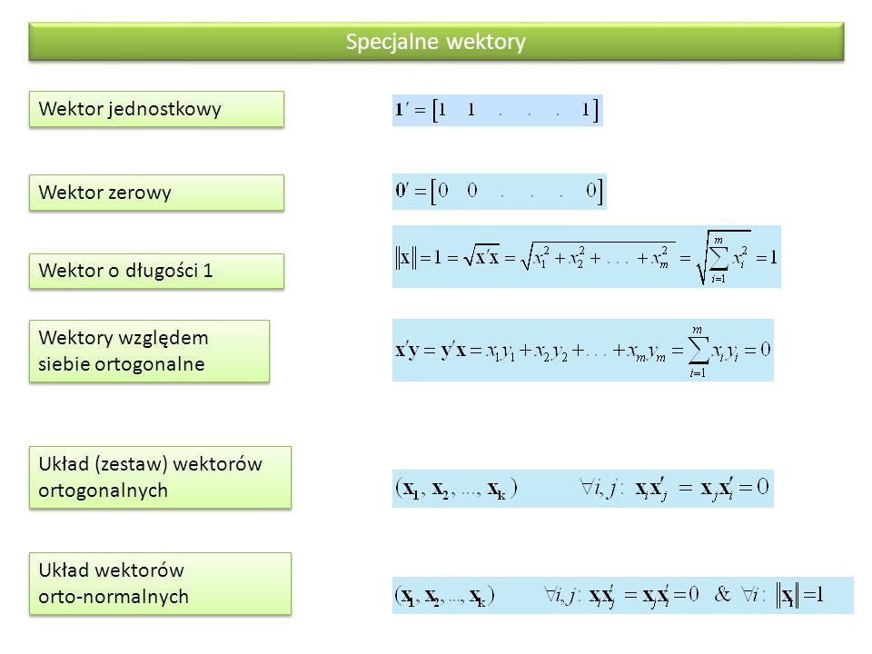 Dane statystyczne w ujęciu macierzowym Zmienne statystyczne i ich momentyWektory i macierze Zmienna statystyczna określona w n ‑ elementowej populacji Ω = {  1,  2,...,  n } Wektor o rozmiarze n Macierz danych surowych ze zmiennymi X 1, X 2, …., X k określonymi w n ‑ elementowej populacji Ω = {  1,  2,...,  n } Uporządkowany zbiór wektorów o rozmiarze n; macierz o wymiarach n×k Suma wartości zmiennej X Iloczyn skalarny wektora zmiennej oraz wektra jednostkowego Średnia zmiennej X Suma kwadratów zmiennej X Wariancja zmiennej X (X cent oznacza zmienną centrowaną, to znaczy odchylenie X od własnej średniej Kowariancja zmiennych X 1 i X 2 Dane statystyczne w ujęciu macierzowym - 1