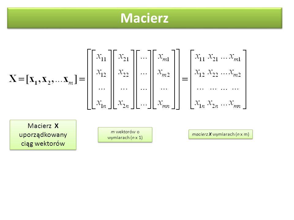 Macierz X uporządkowany ciąg wektorów Macierz m wektorów o wymiarach (n x 1) macierz X wymiarach (n x m)