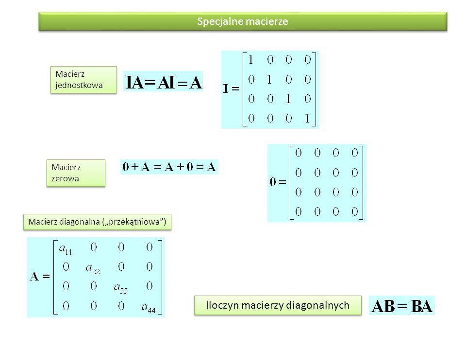 Macierz dodatnio (pozytywnie) określona ma wyznacznik dodatni Wyznacznik macierzy jest liczbą Odwrotność macierzy A jest macierzą A -1 Odwrotną do siebie macierz mają tylko macierze dodatnio określone Wyznacznik, odwrotnośc macierzy Własności odwrotności Macierz A bez i-tego wiersza oraz j-tej kolumny