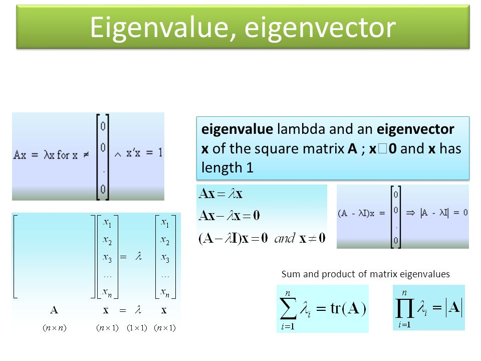 eigenvalue lambda and an eigenvector x of the square matrix A ; x  0 and x has length 1 Sum and product of matrix eigenvalues Eigenvalue, eigenvector