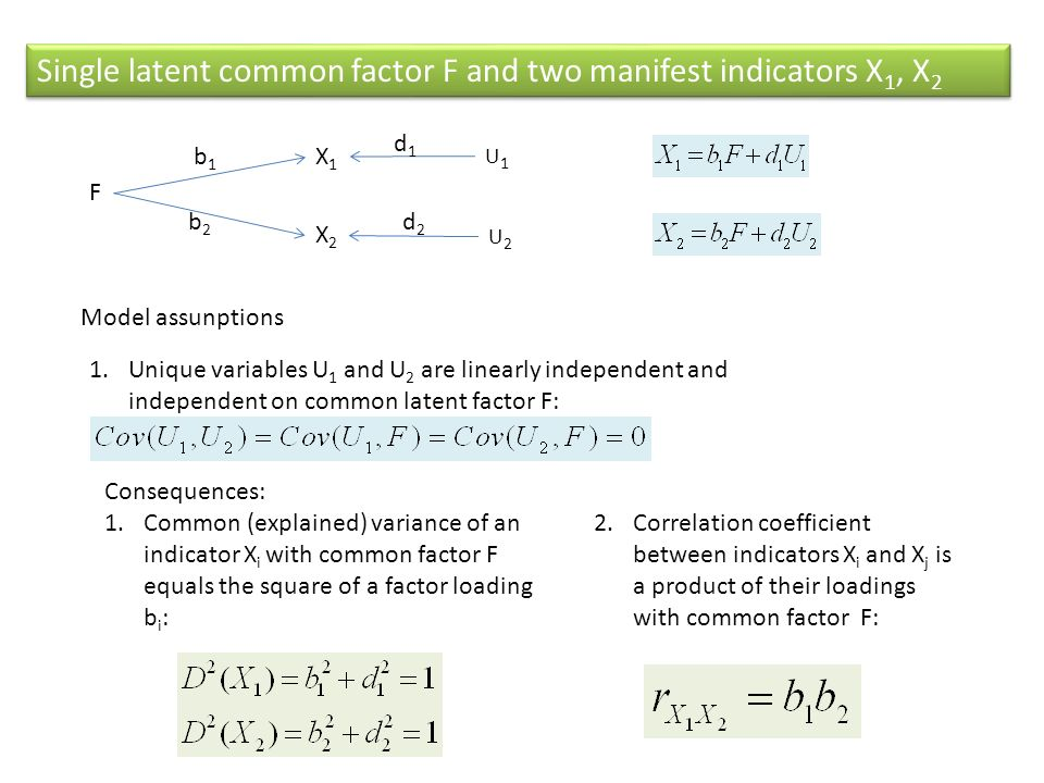 Single latent common factor F and two manifest indicators X 1, X 2 X1X1 X2X2 F b1b1 b2b2 U1U1 U2U2 Model assunptions 1.Unique variables U 1 and U 2 ar