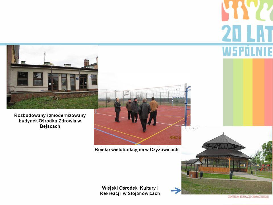 Rozbudowany i zmodernizowany budynek Ośrodka Zdrowia w Bejscach Boisko wielofunkcyjne w Czyżowicach Wiejski Ośrodek Kultury i Rekreacji w Stojanowicach