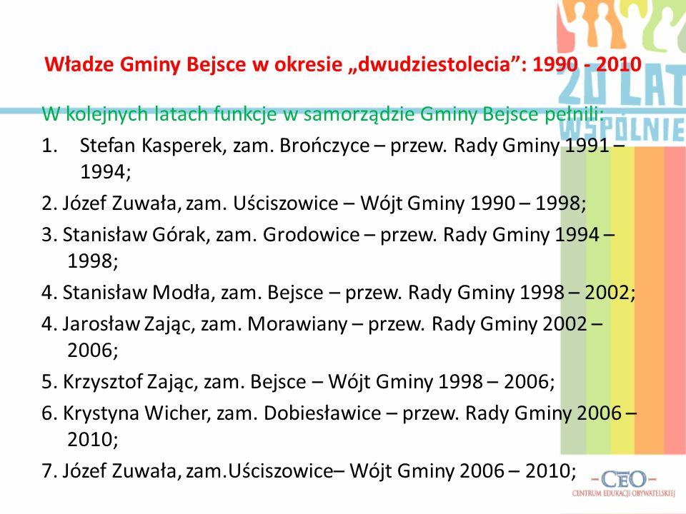 """Władze Gminy Bejsce w okresie """"dwudziestolecia : 1990 - 2010 W kolejnych latach funkcje w samorządzie Gminy Bejsce pełnili: 1.Stefan Kasperek, zam."""