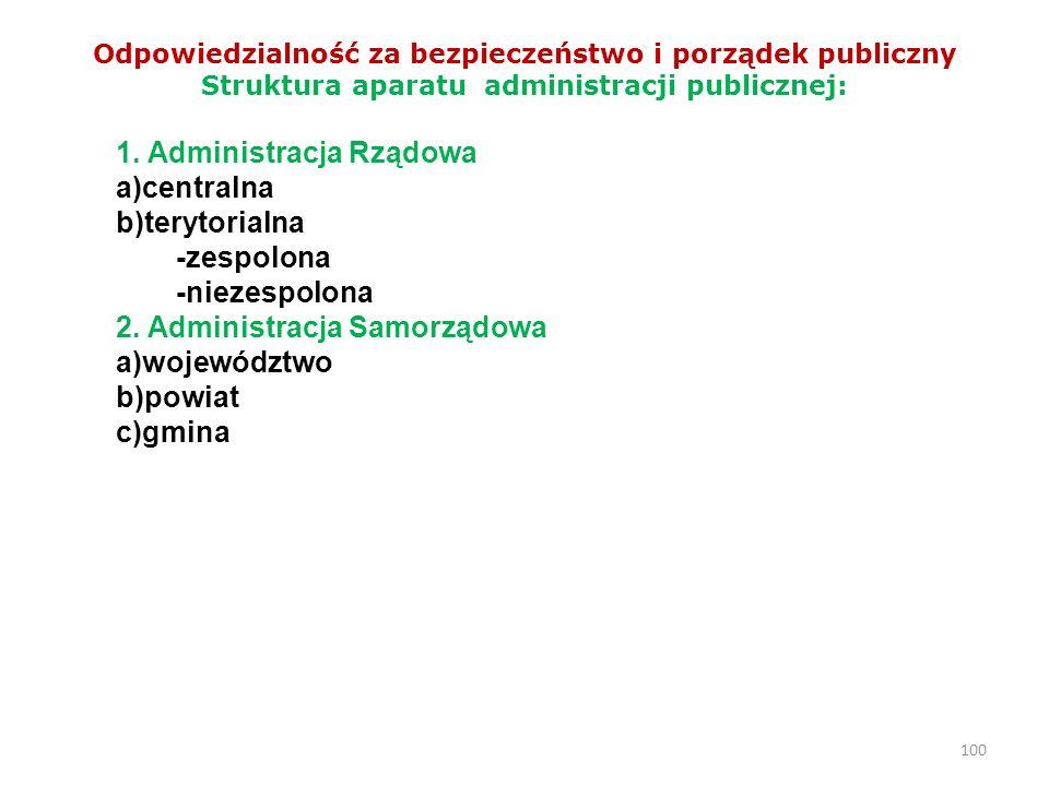 100 Odpowiedzialność za bezpieczeństwo i porządek publiczny Struktura aparatu administracji publicznej: 1. Administracja Rządowa a)centralna b)terytor