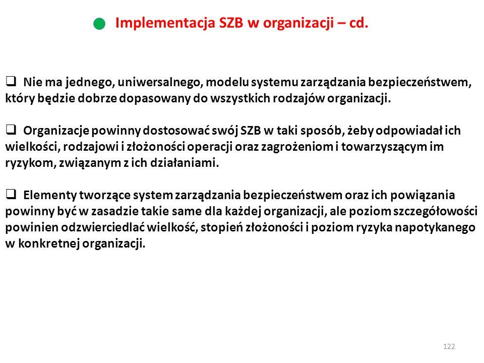 122  Nie ma jednego, uniwersalnego, modelu systemu zarządzania bezpieczeństwem, który będzie dobrze dopasowany do wszystkich rodzajów organizacji. 