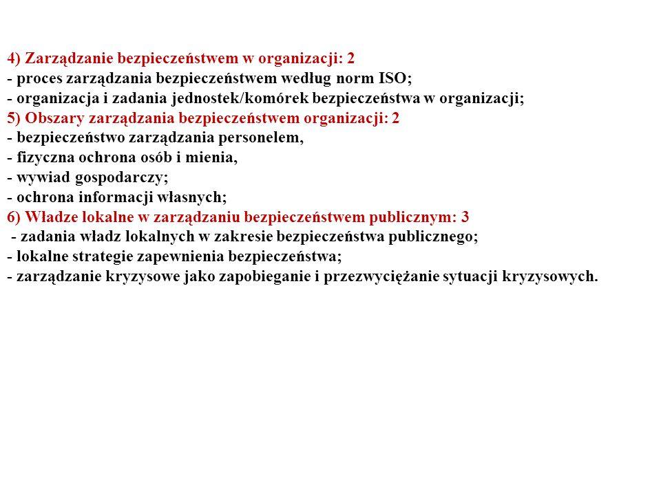 4) Zarządzanie bezpieczeństwem w organizacji: 2 - proces zarządzania bezpieczeństwem według norm ISO; - organizacja i zadania jednostek/komórek bezpie