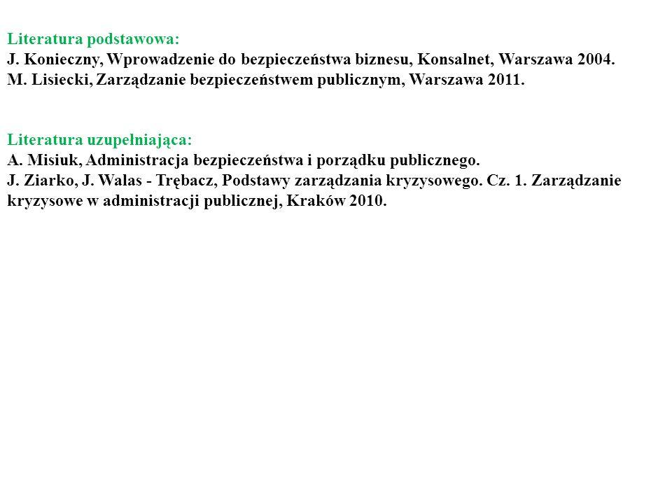 Literatura podstawowa: J. Konieczny, Wprowadzenie do bezpieczeństwa biznesu, Konsalnet, Warszawa 2004. M. Lisiecki, Zarządzanie bezpieczeństwem public