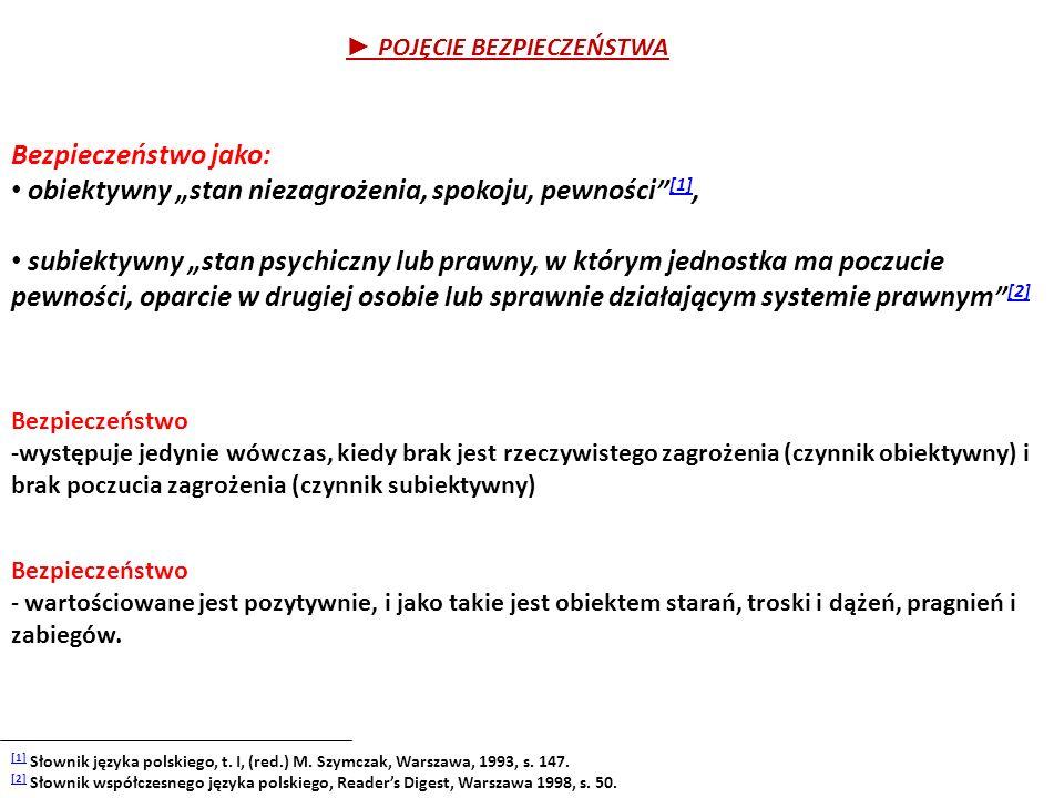 """► POJĘCIE BEZPIECZEŃSTWA Bezpieczeństwo jako: obiektywny """"stan niezagrożenia, spokoju, pewności"""" [1], [1] subiektywny """"stan psychiczny lub prawny, w k"""